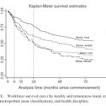 Fig 1 - workforce survival curve for rural and remote health practitioners